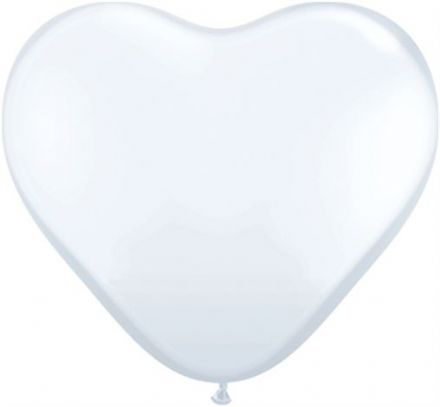 3' White Heart Latex Balloons x 2